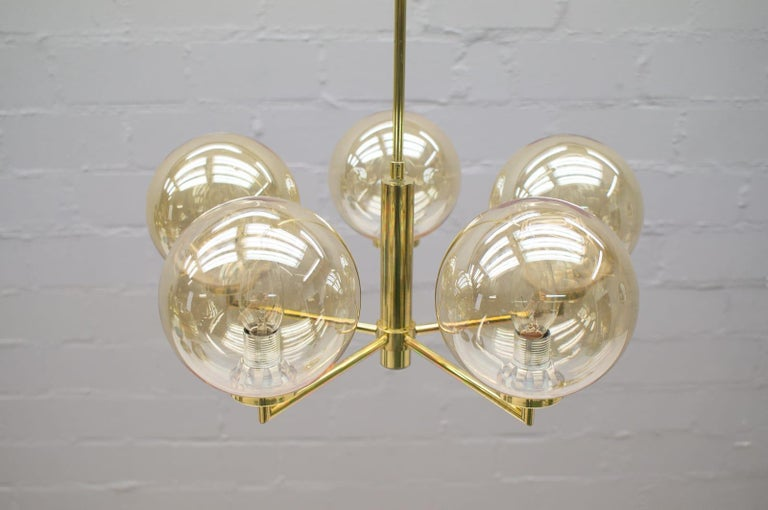 Mid-20th Century Space Age Orbit Ceiling Lamp with Five Amber Glass Balls, 1960s For Sale