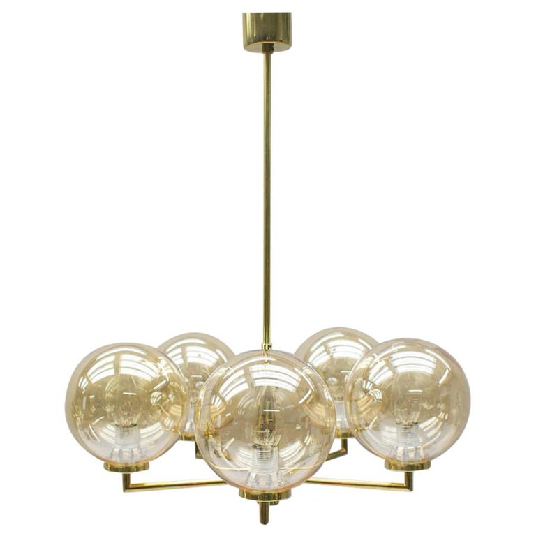 Space Age Orbit Ceiling Lamp with Five Amber Glass Balls, 1960s For Sale