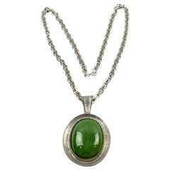 Space Age Pewter Necklace Green Ceramic Pendant