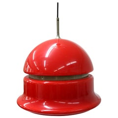 Space Age Plexiglas Pendant in Deep Red Color with Nickel Side Line, 1960s