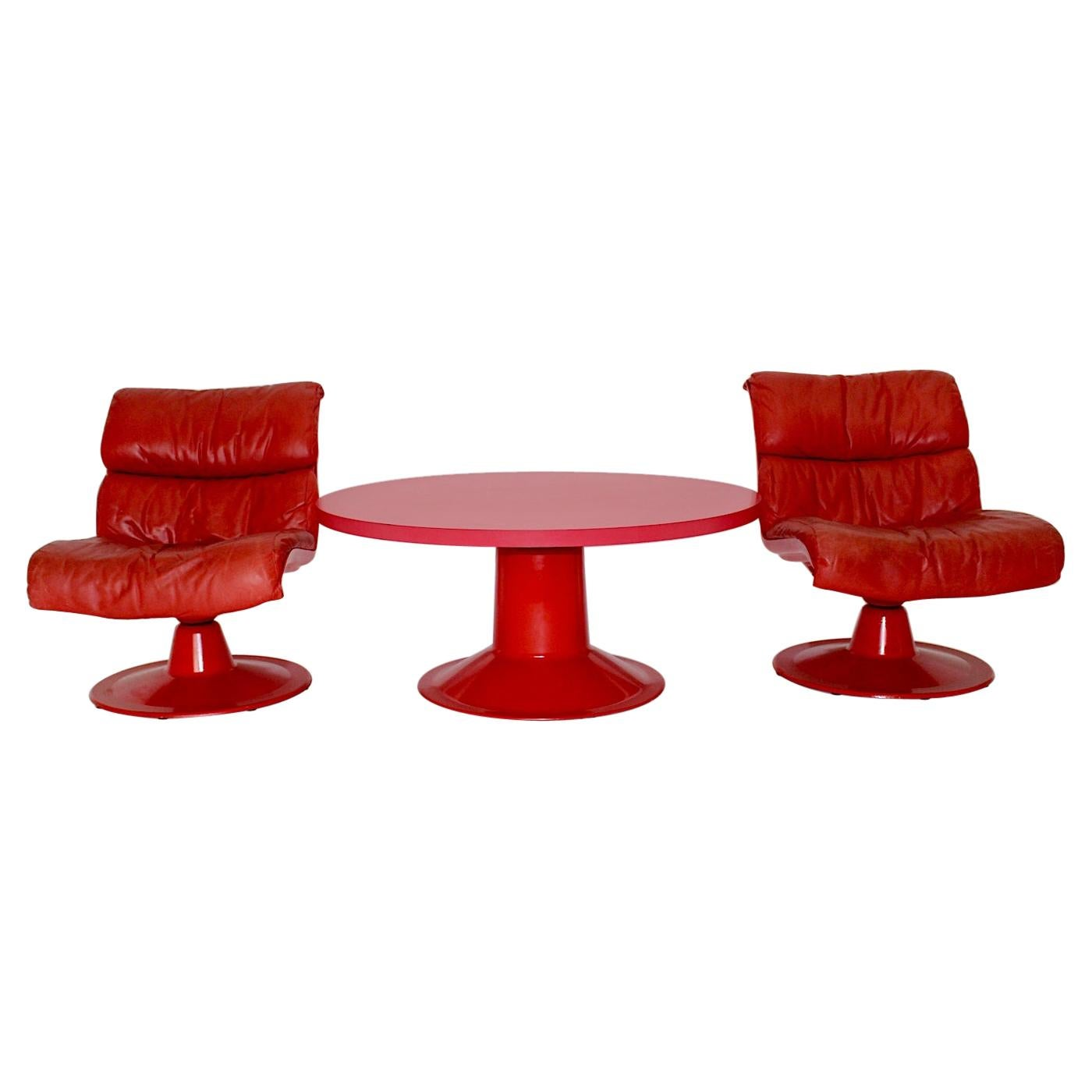 Space Age Red Vintage Lounge Chairs Saturn Pink Sofa Table Yrjö Kukkapuro, 1960s