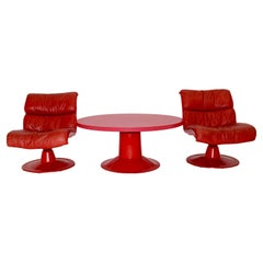 Space Age Red Vintage Lounge Chairs Saturn and Sofa Table Yrjö Kukkapuro, 1960s