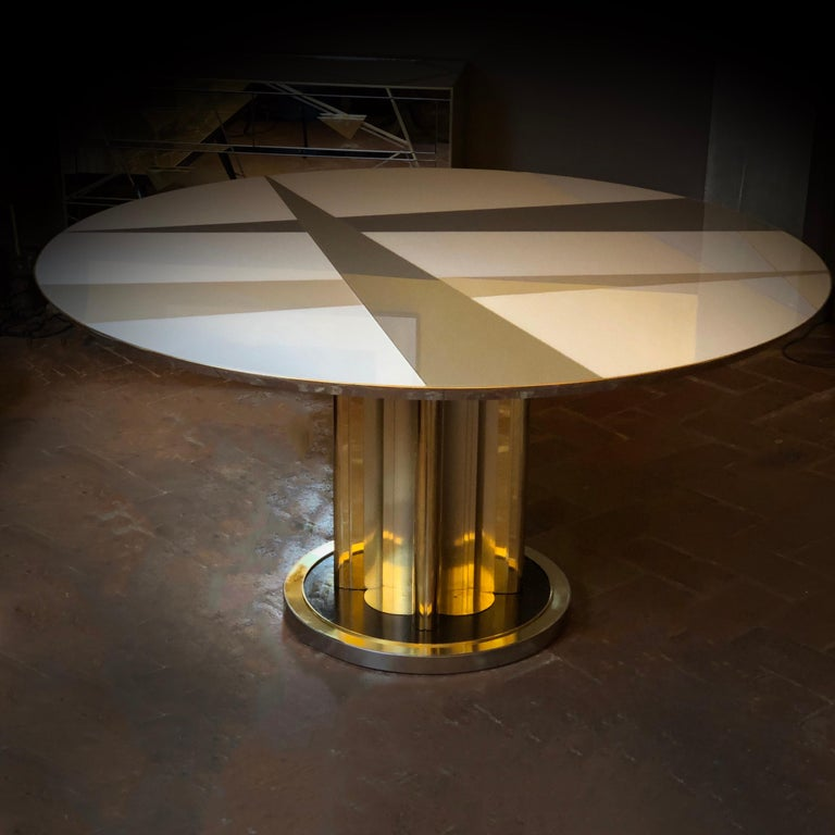 Mid-Century Modern Space Age Round Table, Murano Glass Top and Aluminum, Brass and Wood Pedestal For Sale