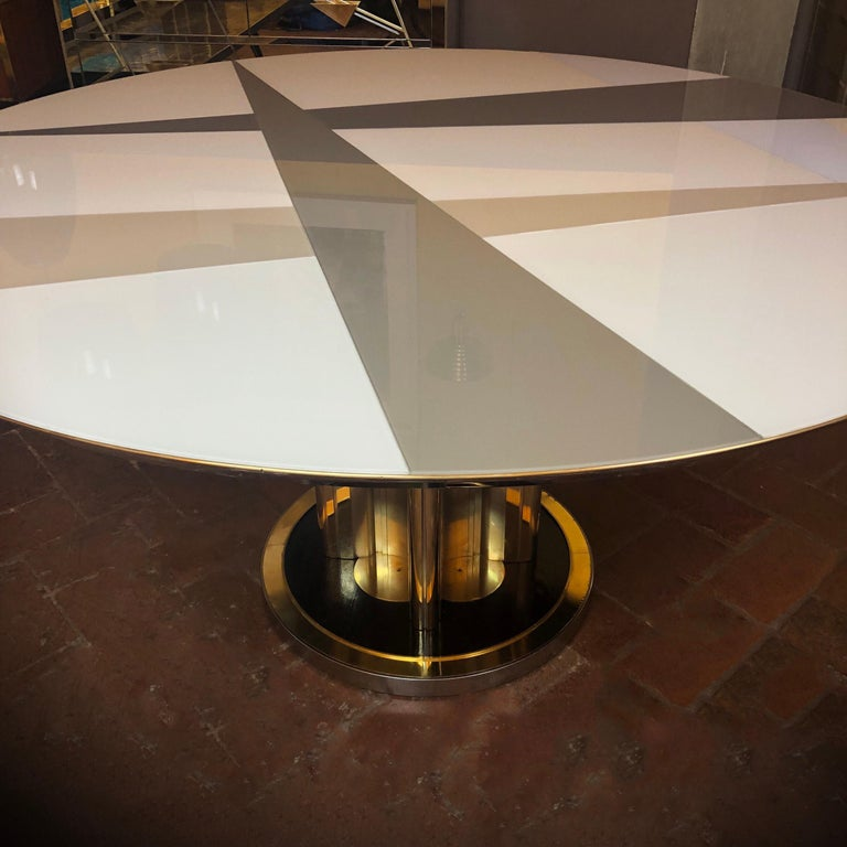 Italian Space Age Round Table, Murano Glass Top and Aluminum, Brass and Wood Pedestal For Sale