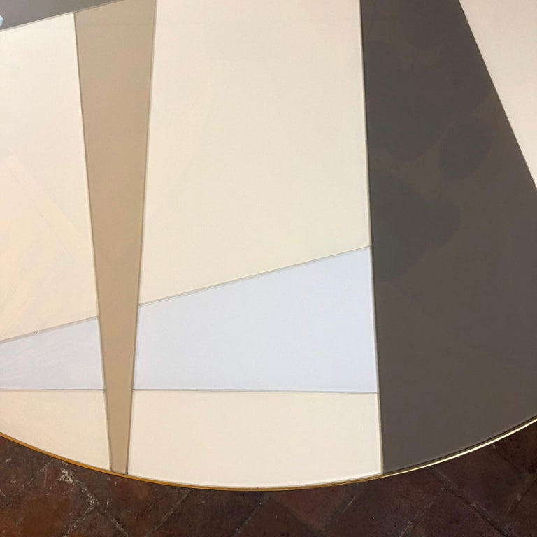 Late 20th Century Space Age Round Table, Murano Glass Top and Aluminum, Brass and Wood Pedestal For Sale