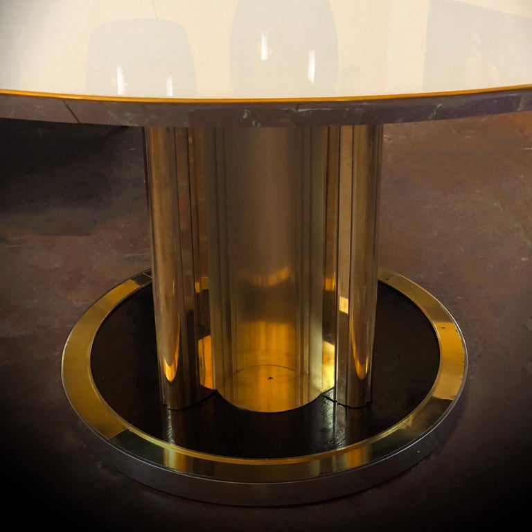 Space Age Round Table, Murano Glass Top and Aluminum, Brass and Wood Pedestal For Sale 1