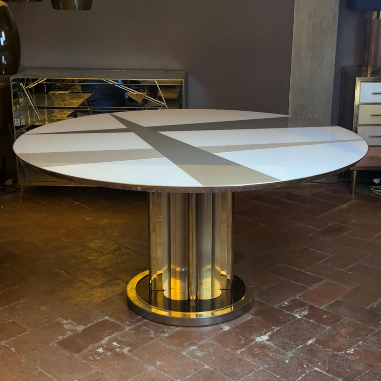 Space Age Round Table, Murano Glass Top and Aluminum, Brass and Wood Pedestal For Sale 3