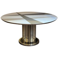 Space Age Round Table, Murano Glass Top and Aluminum, Brass and Wood Pedestal