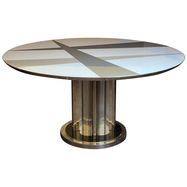 Space Age Round Table, Murano Glass Top and Aluminum, Brass and Wood Pedestal For Sale