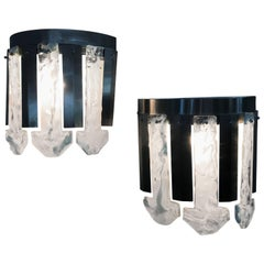 Space Age Sconces by Mazzega in Brushed Steel and Murano Glass, Italy circa 1970