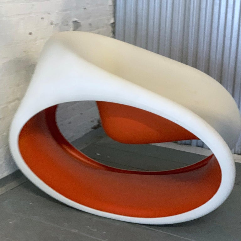 "Space Age Sedia MT3 Rocking Chair by Ron Arad for Driade Italy, Red.  ""mt"", the acronym defining this collection designed by Ron Arad, in English is pronounced ""empty"" that means ""vacuum"" and emptiness is really the key element of this project. The"