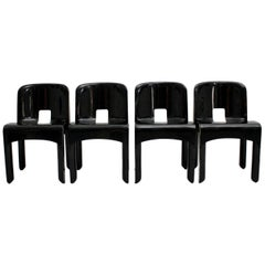 Space Age Set of Four Black Vintage Plastic Dining Chairs by Joe Colombo Italy