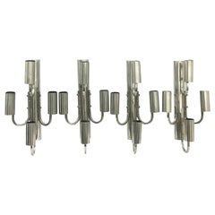Space Age Set of Four Large Italian Chromed Four Lights Wall Sconces, 1960