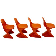 Space Age Set of Four Vintage Orange Children Stacking Chairs 1970s Casalino