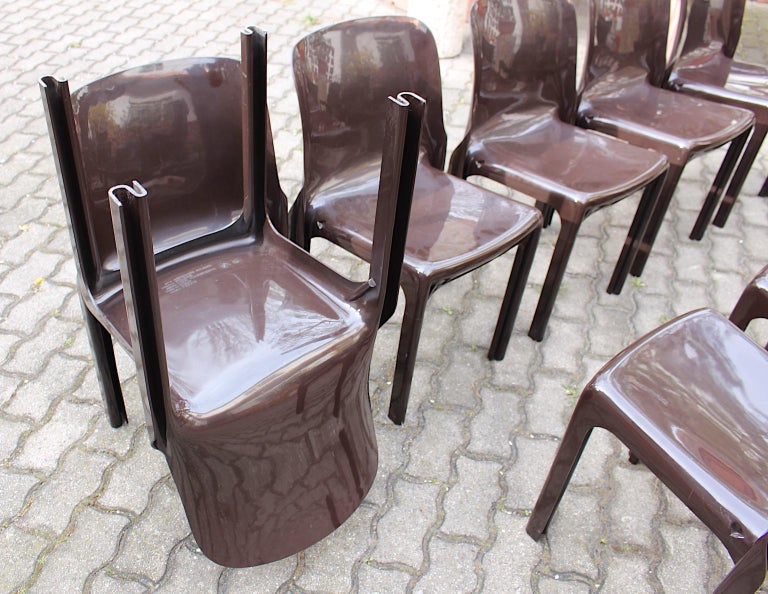 Space Age Set of Ten Vintage Brown Plastic Dining Chairs Vico Magistretti, Italy For Sale 8