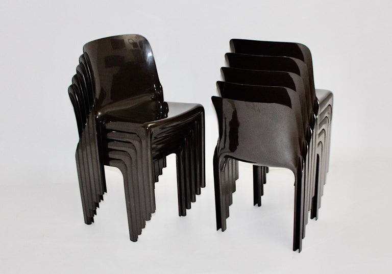 Space Age Set of Ten Vintage Brown Plastic Dining Chairs Vico Magistretti, Italy For Sale 9