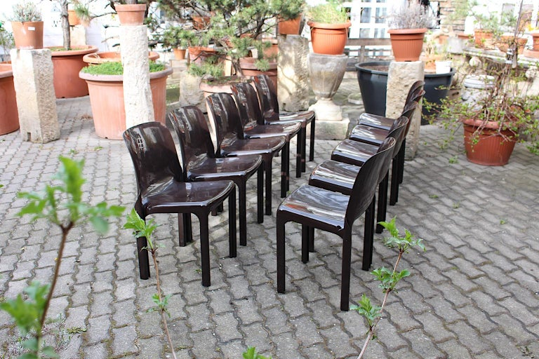 Space Age Set of Ten Vintage Brown Plastic Dining Chairs Vico Magistretti, Italy For Sale 1