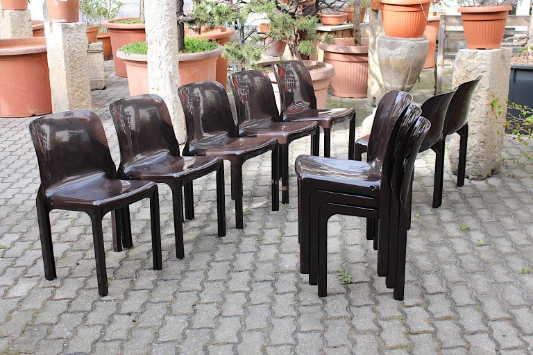 Space Age Set of Ten Vintage Brown Plastic Dining Chairs Vico Magistretti, Italy For Sale 3