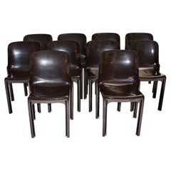 Space Age Set of Ten Vintage Brown Plastic Dining Chairs Vico Magistretti, Italy