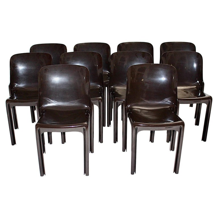 Space Age Set of Ten Vintage Brown Plastic Dining Chairs Vico Magistretti, Italy For Sale