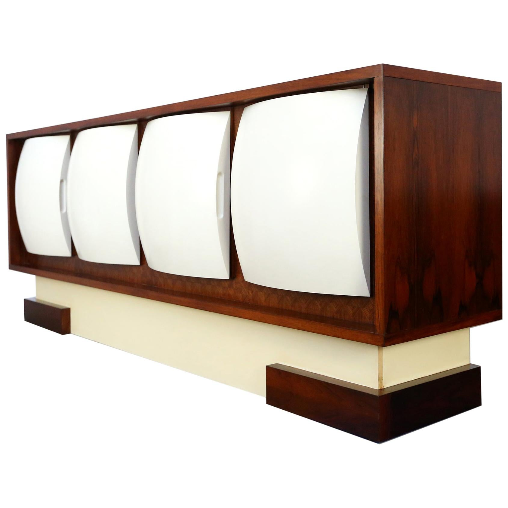 Space Age Sideboard in Rosewood and Fiberglass, Philippon and Lecoq Style, 1960s