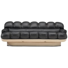 Space Age Sofa in Black Leatherette and Fiberglass