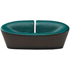 Space Age Sofa in Green and Brown Leatherette