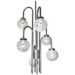 Space Age Sputnik Chrome Cascade Blown Murano Glass Chandelier by Mazzega