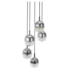 Space Age Sputnik Chrome Glass Cascade Chandelier Pendant Ceiling Lamp by Kaiser