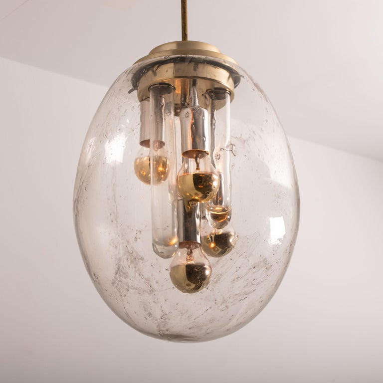 Plated Space Age Sputnik Pedant Lamp by Doria, Germany, 1970s For Sale