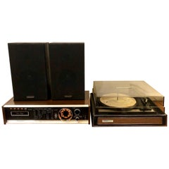 Space Age Stereo System by Electrophonic 8 Track Stereo Turntable & Speakers