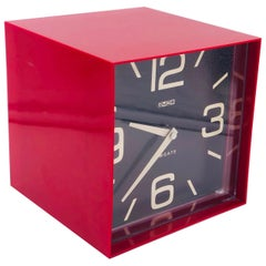 Space Age Style Red  Wall Table Clock by Cube