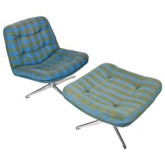 Space Age Swivel Midcentury Danish Modern Lounge Chair and Ottoman