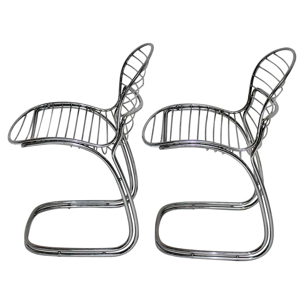 Space Age Vintage Chairs Chromed Steel Gastone Rinaldi for Rima, Italy, 1970s