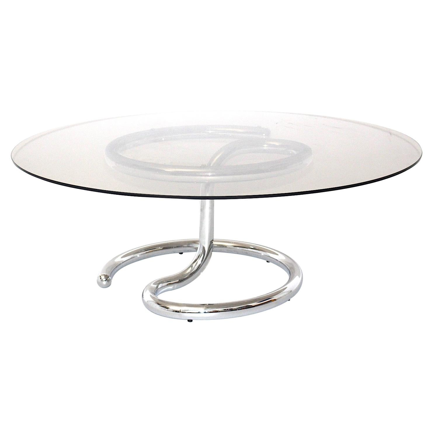 Space Age Vintage Chromed Metal Smoked Glass Coffee Table, 1970s, Germany