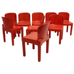 Space Age Vintage Eight Red Plastic Dining Chairs by Marcello Siard, Italy, 1969