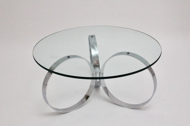 Space Age Vintage Glass Chromed Coffee Table or Sofa Table with Rings, 1960s In Good Condition For Sale In Vienna, AT
