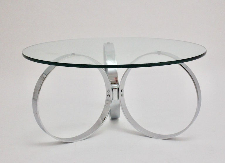 Mid-20th Century Space Age Vintage Glass Chromed Coffee Table or Sofa Table with Rings, 1960s For Sale