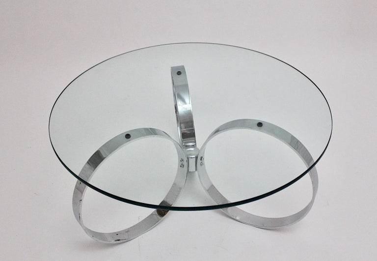 Metal Space Age Vintage Glass Chromed Coffee Table or Sofa Table with Rings, 1960s For Sale