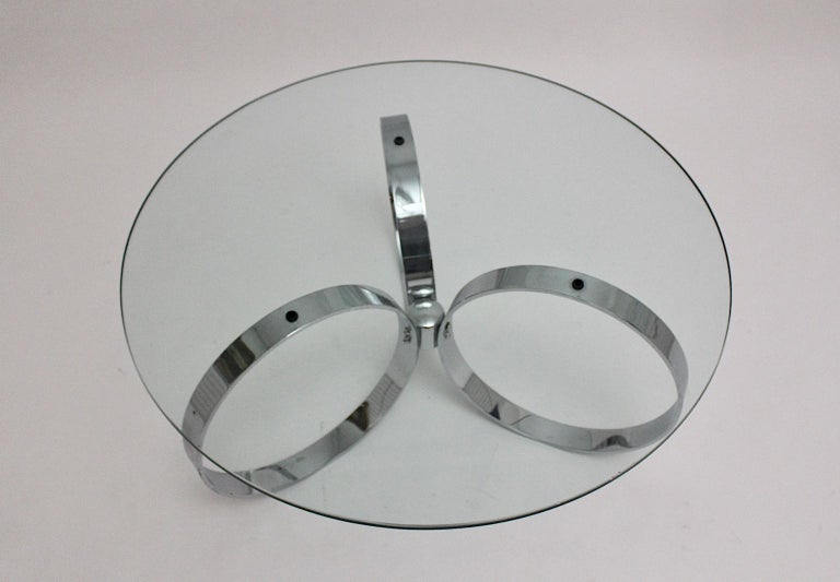 Space Age Vintage Glass Chromed Coffee Table or Sofa Table with Rings, 1960s For Sale 1