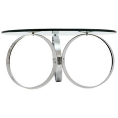 Space Age Vintage Glass Chromed Coffee Table or Sofa Table with Rings, 1960s