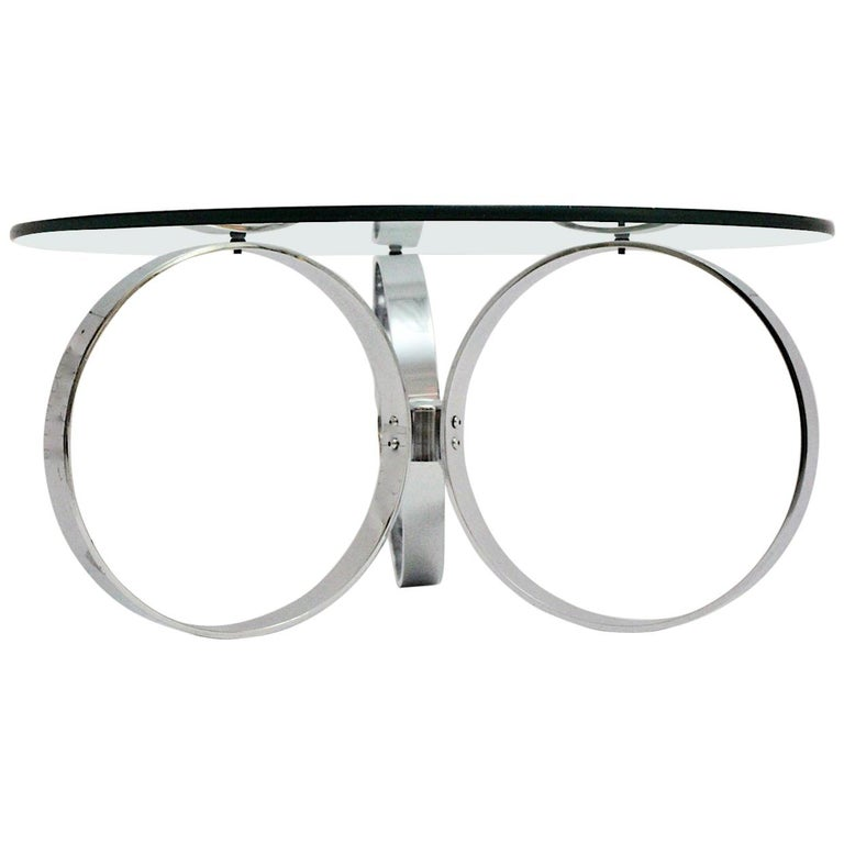 Space Age Vintage Glass Chromed Coffee Table or Sofa Table with Rings, 1960s For Sale