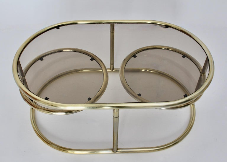 Space Age Vintage Golden Metal Glass Oval Coffee Table Sofa Table, 1960s, Italy For Sale 5