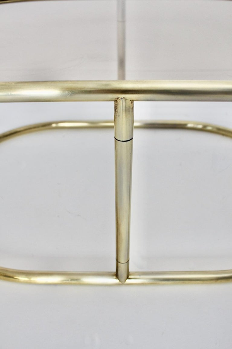 Space Age Vintage Golden Metal Glass Oval Coffee Table Sofa Table, 1960s, Italy For Sale 7