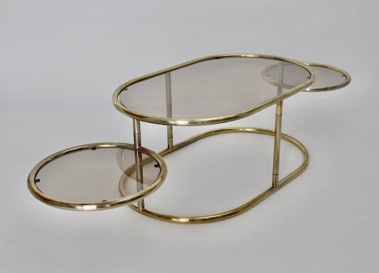 Italian Space Age Vintage Golden Metal Glass Oval Coffee Table Sofa Table, 1960s, Italy For Sale