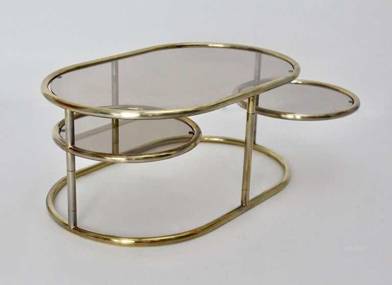Space Age Vintage Golden Metal Glass Oval Coffee Table Sofa Table, 1960s, Italy In Good Condition For Sale In Vienna, AT