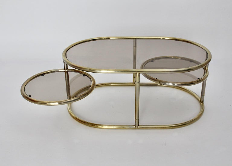 Mid-20th Century Space Age Vintage Golden Metal Glass Oval Coffee Table Sofa Table, 1960s, Italy For Sale