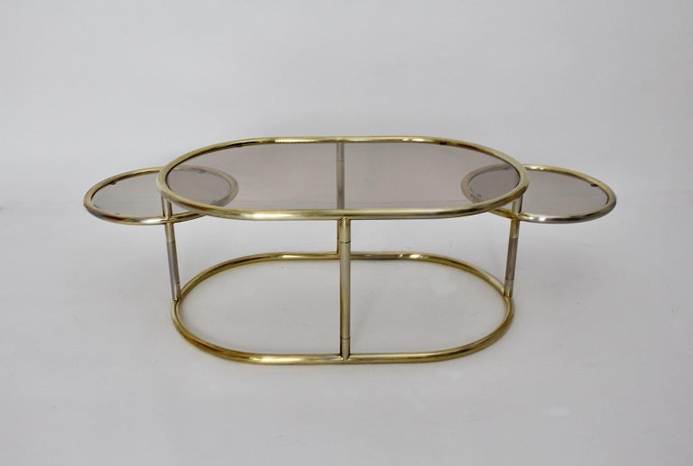 Space Age Vintage Golden Metal Glass Oval Coffee Table Sofa Table, 1960s, Italy For Sale 1