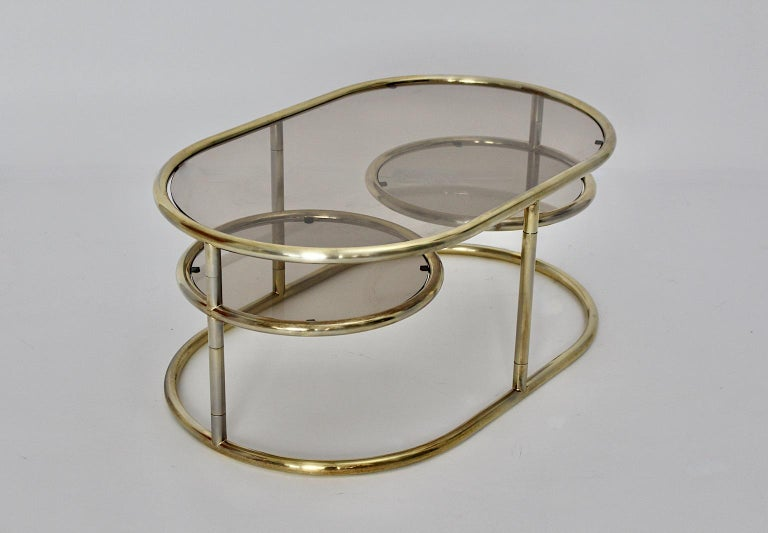 Space Age Vintage Golden Metal Glass Oval Coffee Table Sofa Table, 1960s, Italy For Sale 2