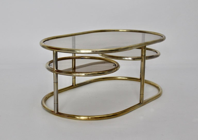 Space Age Vintage Golden Metal Glass Oval Coffee Table Sofa Table, 1960s, Italy For Sale 3